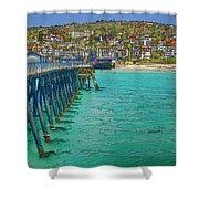 San Clemente Pier Shower Curtain by Joan Carroll