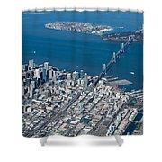 San Francisco Bay Bridge Aerial Photograph Shower Curtain by John Daly