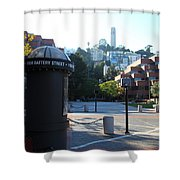 San Francisco Coit Tower At Levis Plaza 5D26213 Shower Curtain by Wingsdomain Art and Photography