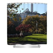 San Francisco Coit Tower At Levis Plaza 5D26217 Shower Curtain by Wingsdomain Art and Photography