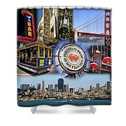 San Francisco Collage Shower Curtain by Kelley King