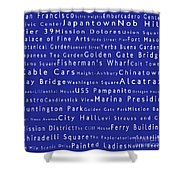 San Francisco In Words Blue Shower Curtain by Sabine Jacobs