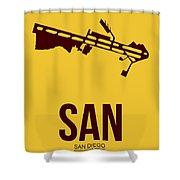 San San Diego Airport Poster 1 Shower Curtain by Naxart Studio