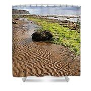 Sand patterns on Robin Hoods Bay beach Shower Curtain by Deborah Benbrook