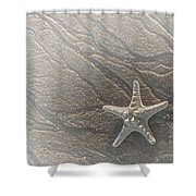 Sand Prints And Starfish II Shower Curtain by Susan Candelario