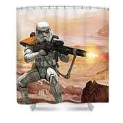 Sand Trooper - Star Wars The Card Game Shower Curtain by Ryan Barger