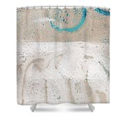 Sandcastles- Abstract Painting Shower Curtain by Linda Woods