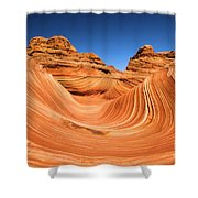 Sandstone Surf Shower Curtain by Adam Jewell