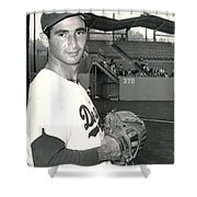 Sandy Koufax Photo Portrait Shower Curtain by Gianfranco Weiss