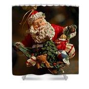 Santa Claus - Antique Ornament - 04 Shower Curtain by Jill Reger
