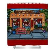Santa Fe Restaurant Shower Curtain by Victoria De Almeida
