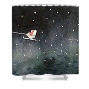 Santa Is Coming Shower Curtain by Yoshiko Mishina