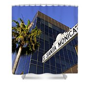 Santa Monica Blvd Sign In Beverly Hills California Shower Curtain by Paul Velgos