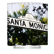 Santa Monica Blvd Street Sign In Beverly Hills Shower Curtain by Paul Velgos