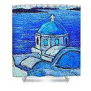 Santorini  Blue Shower Curtain by Ana Maria Edulescu