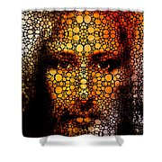 Savior - Stone Rock'd Jesus Art By Sharon Cummings Shower Curtain by Sharon Cummings