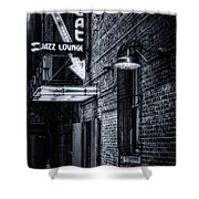 Scat Lounge In Cool Black And White Shower Curtain by Joan Carroll