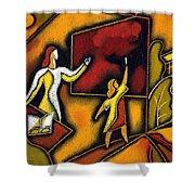 School Shower Curtain by Leon Zernitsky