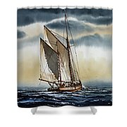Schooner Shower Curtain by James Williamson