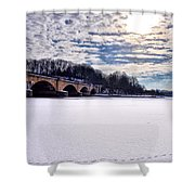 Schuylkill River - Frozen Shower Curtain by Bill Cannon