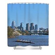 Schuylkill River Skulling Phila Pa Skyline Shower Curtain by David Zanzinger