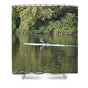 Schuylkill Rower Shower Curtain by Bill Cannon