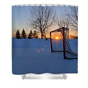 Scoring The Sunset Shower Curtain by Darcy Michaelchuk