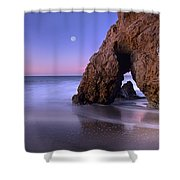 Sea Arch And Full Moon Over El Matador Shower Curtain by Tim Fitzharris