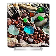 Sea Glass Art Prints Beach Seaglass Shower Curtain by Baslee Troutman