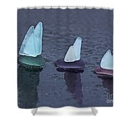 Sea Glass Flotilla Shower Curtain by Barbara McMahon