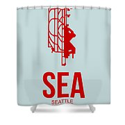 Sea Seattle Airport Poster 1 Shower Curtain by Naxart Studio