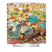 Seaglass Coastal Beach Rock Garden Agates Shower Curtain by Baslee Troutman