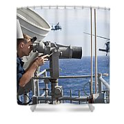 Seaman Apprentice Stands Watch Aboard Shower Curtain by Stocktrek Images