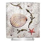 Seashell Sea Star And Pearls On The Beach Shower Curtain by Irina Sztukowski