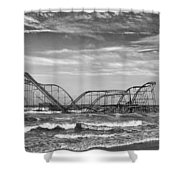 Seaside Heights - Jet Star Roller Coaster Shower Curtain by Niday Picture Library