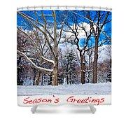 Season's Greetings Shower Curtain by Madeline Ellis