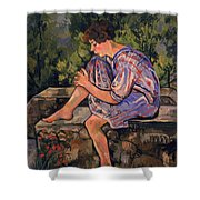 Seated Young Woman Shower Curtain by Marie Clementine Valadon
