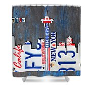 Seattle Washington Space Needle Skyline License Plate Art By Design Turnpike Shower Curtain by Design Turnpike