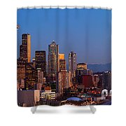 Seattle Winter Evening Panorama Shower Curtain by Inge Johnsson