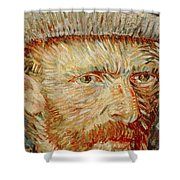 Self-portrait With Hat Shower Curtain by Vincent van Gogh