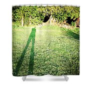 Selfie shadow Shower Curtain by Les Cunliffe