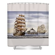 Semi-ah-moo Lighthouse Shower Curtain by James Williamson