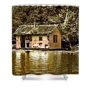 Sepia Floating House Shower Curtain by Robert Bales