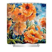 September Orange Poppies            Shower Curtain by Kathy Braud