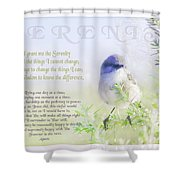 Serenity Prayer Shower Curtain by Holly Kempe