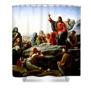 Sermon On The Mount Watercolor Shower Curtain by Carl Bloch