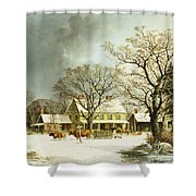 Seven Miles To Salem Shower Curtain by George Henry Durrie