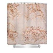 Seven Studies of Grotesque Faces Shower Curtain by Leonardo da Vinci
