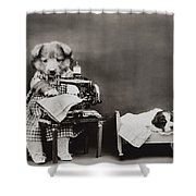 Sewing baby clothes Shower Curtain by Aged Pixel