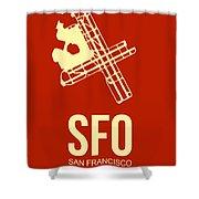 Sfo San Francisco Airport Poster 2 Shower Curtain by Naxart Studio